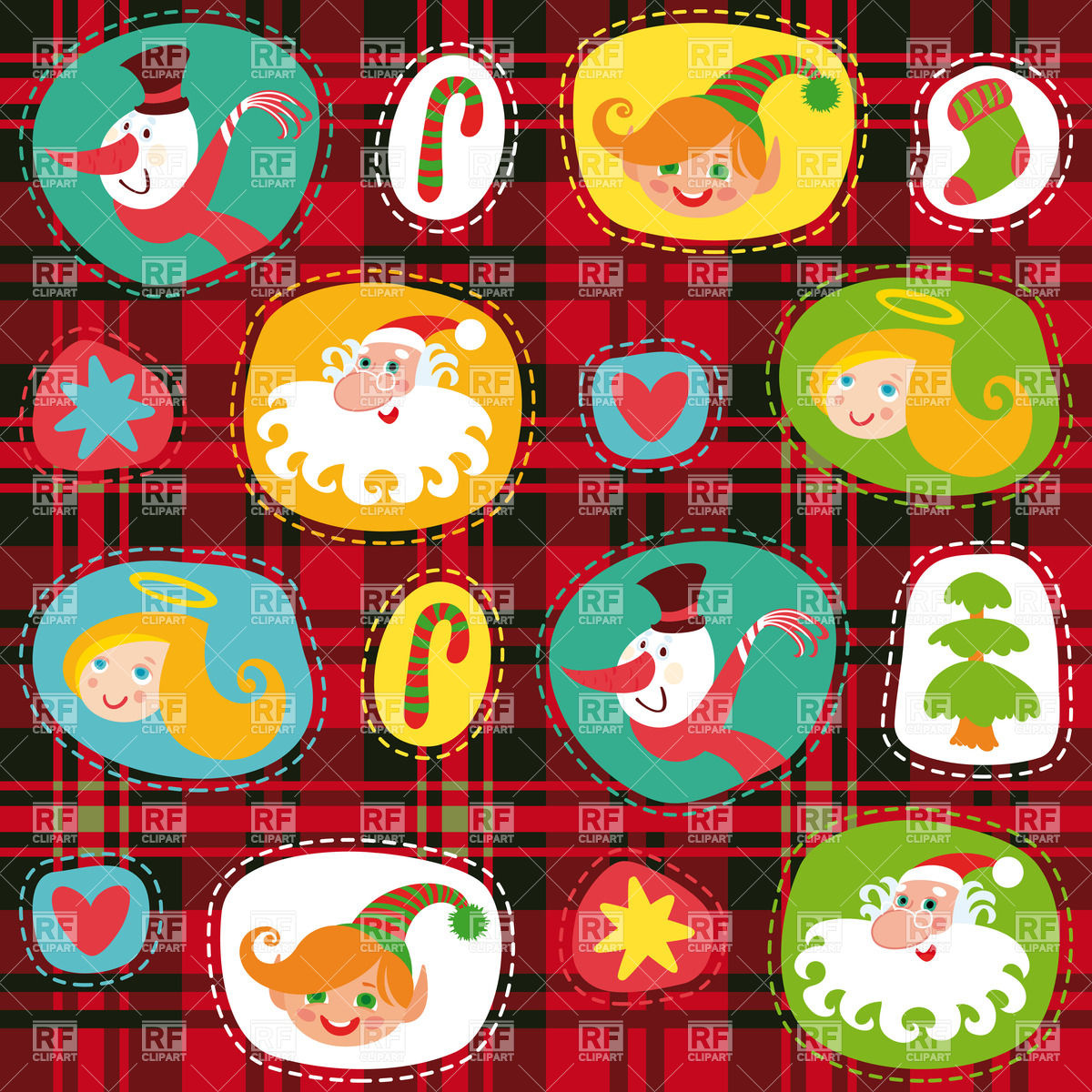 Christmas wrapping paper on tartan pattern Stock Vector Image.