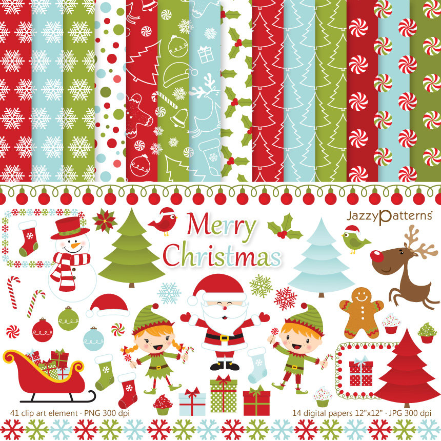 Christmas clipart and digital paper pack printable Merry Christmas.