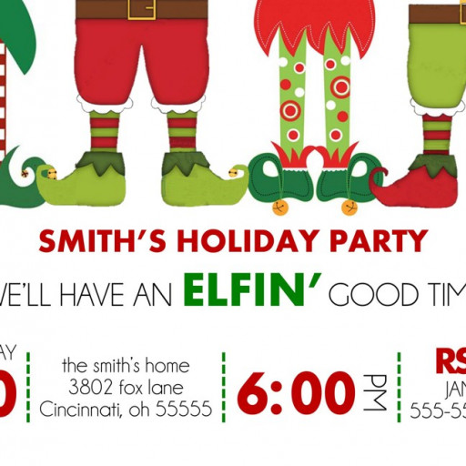 Holiday Christmas Party Invitation Elfin Good Time Elf.