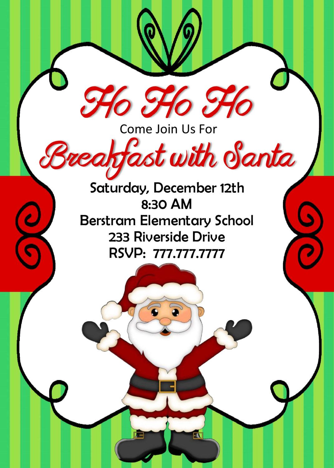Breakfast With Santa Invitation.