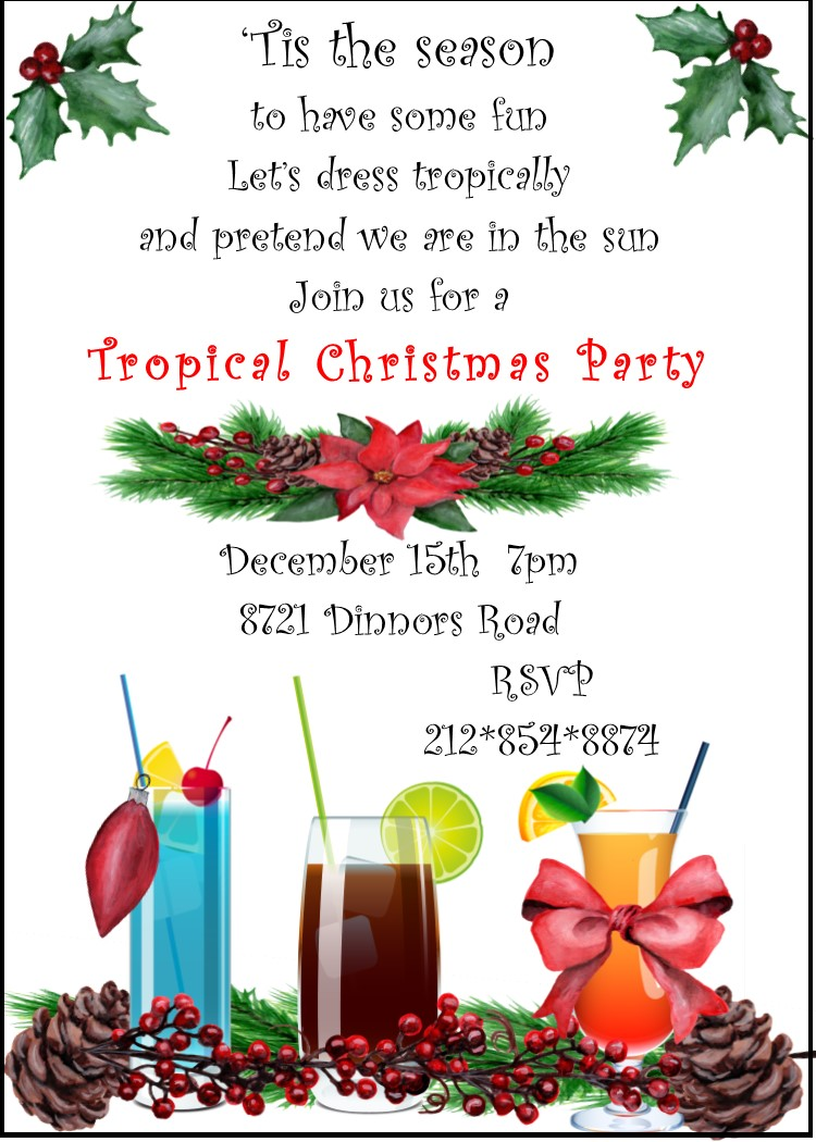 Christmas / Holiday Tropical Party Invitations 2019.