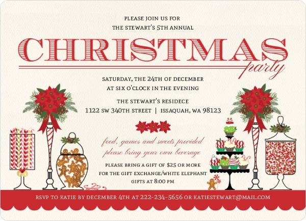Christmas Party Invitation Wording From PurpleTrail.
