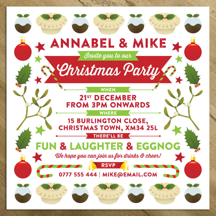 Personalised Christmas Party / Wedding Invitations.