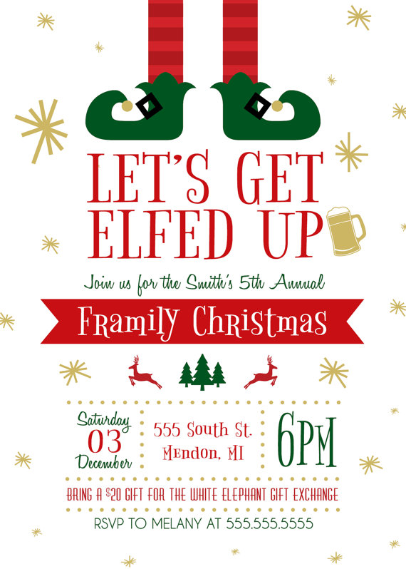 5 x 7 PRINTABLE Let's Get Elfed Up Christmas Party Invitation.