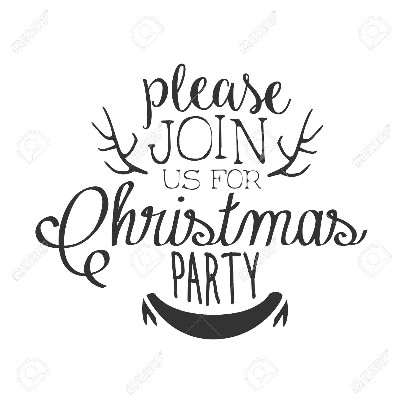 Christmas Party Black And White Invitation Card Design Template...