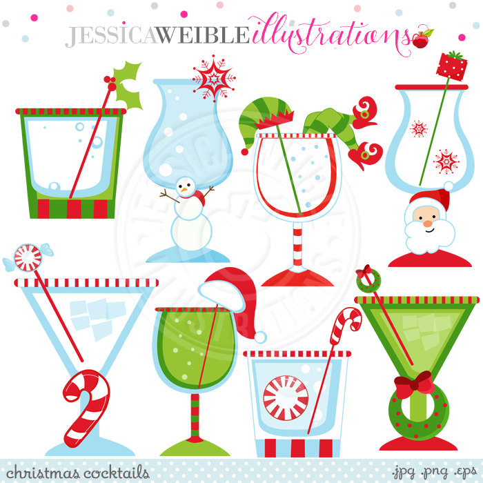 Christmas Cocktails Cute Christmas Digital Clipart Commercial.