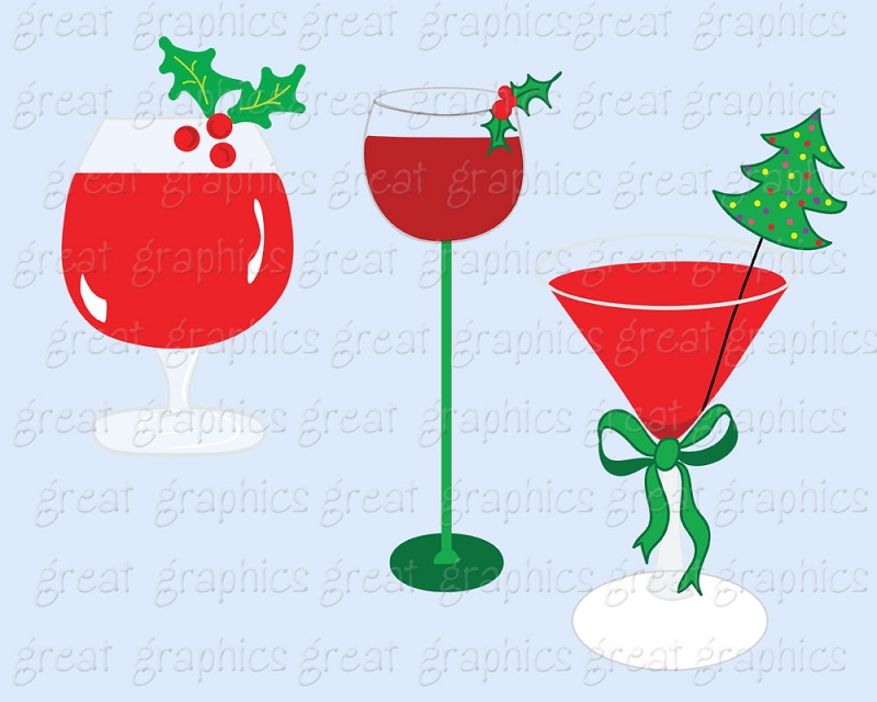 Christmas Party Cocktail Clipart.