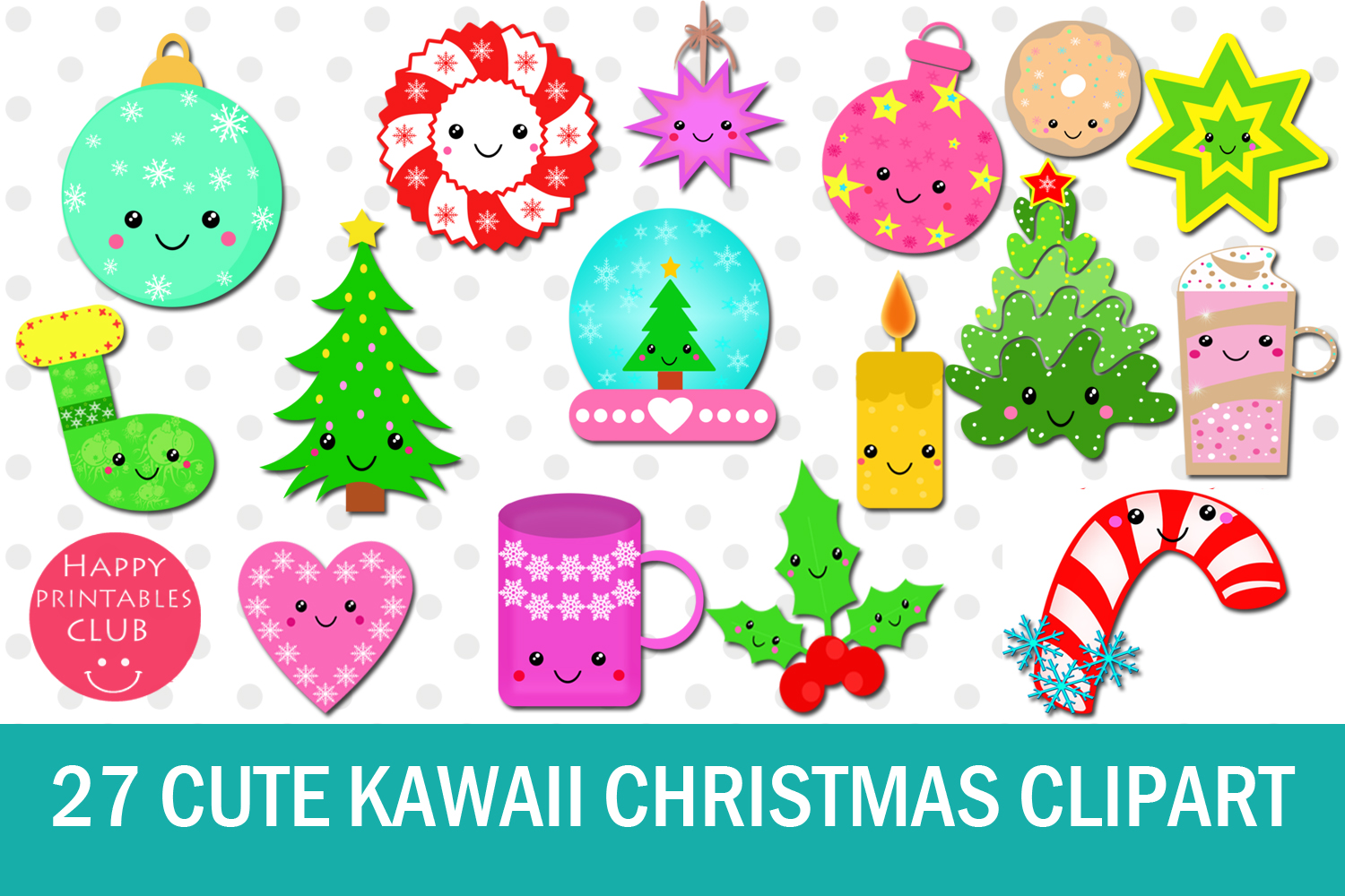 27 Cute Kawaii Christmas Clipart.