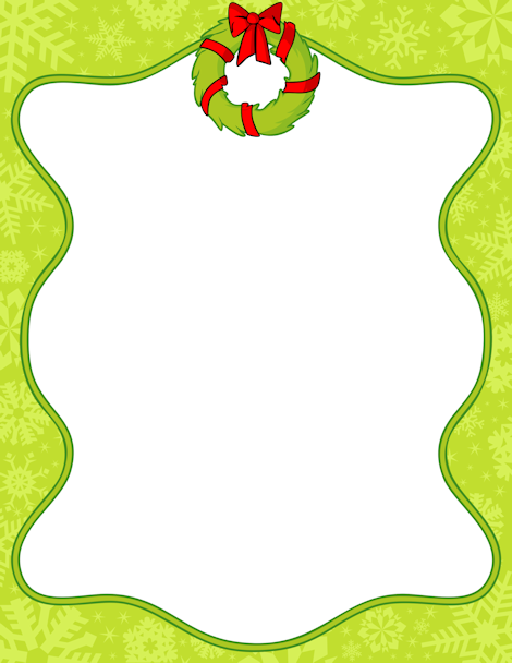 Printable Christmas wreath border. Free GIF, JPG, PDF, and PNG.
