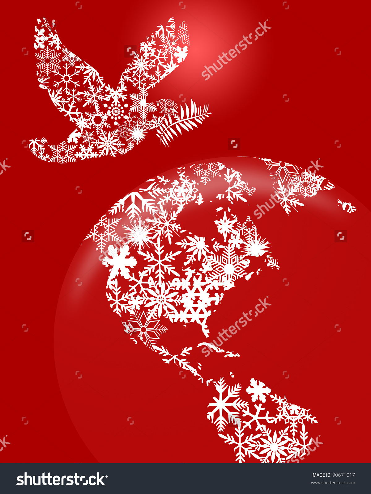 Christmas Peace Dove And Earth Globe Clipart Illustration On Red.