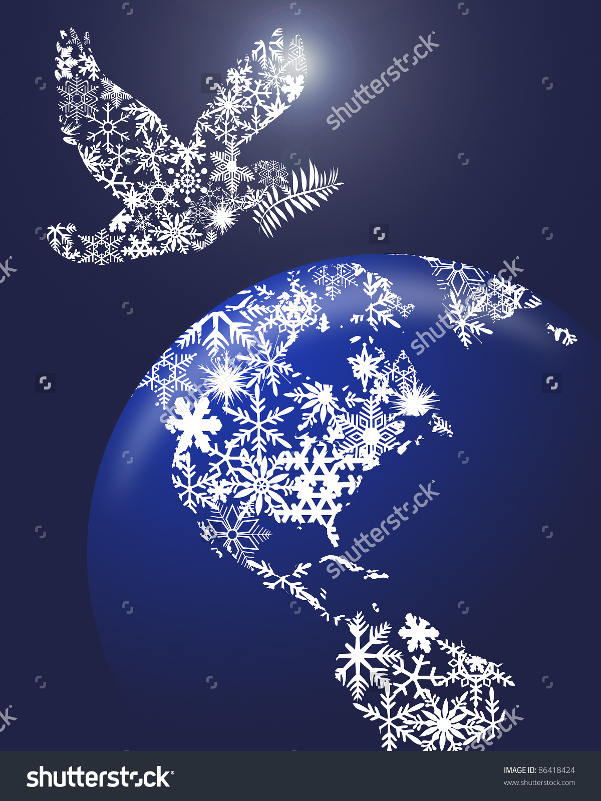 Christmas Peace Dove Earth Globe Clipart Stock Illustration.