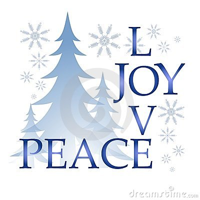 Love Joy Peace Christmas Card With Tree And Snow Royalty Free.