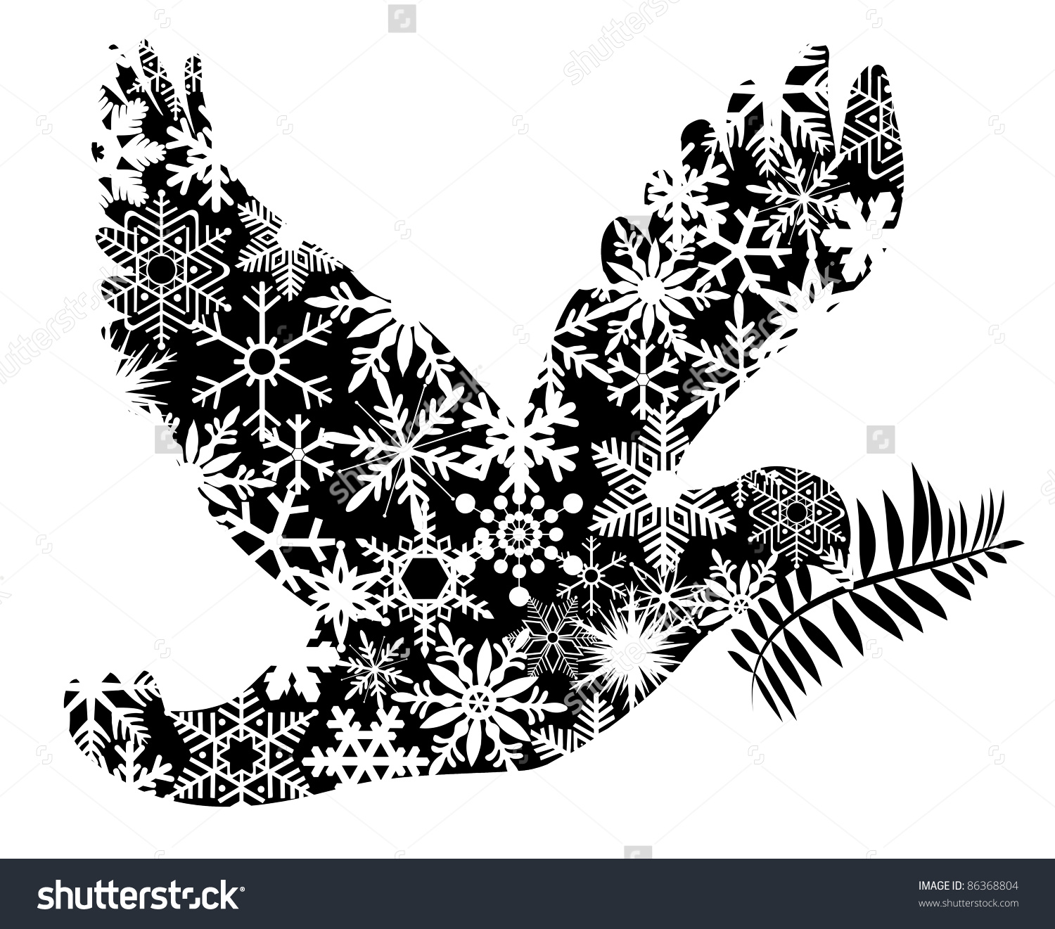 Christmas Peace Dove Silhouette Clipart Illustration Stock.