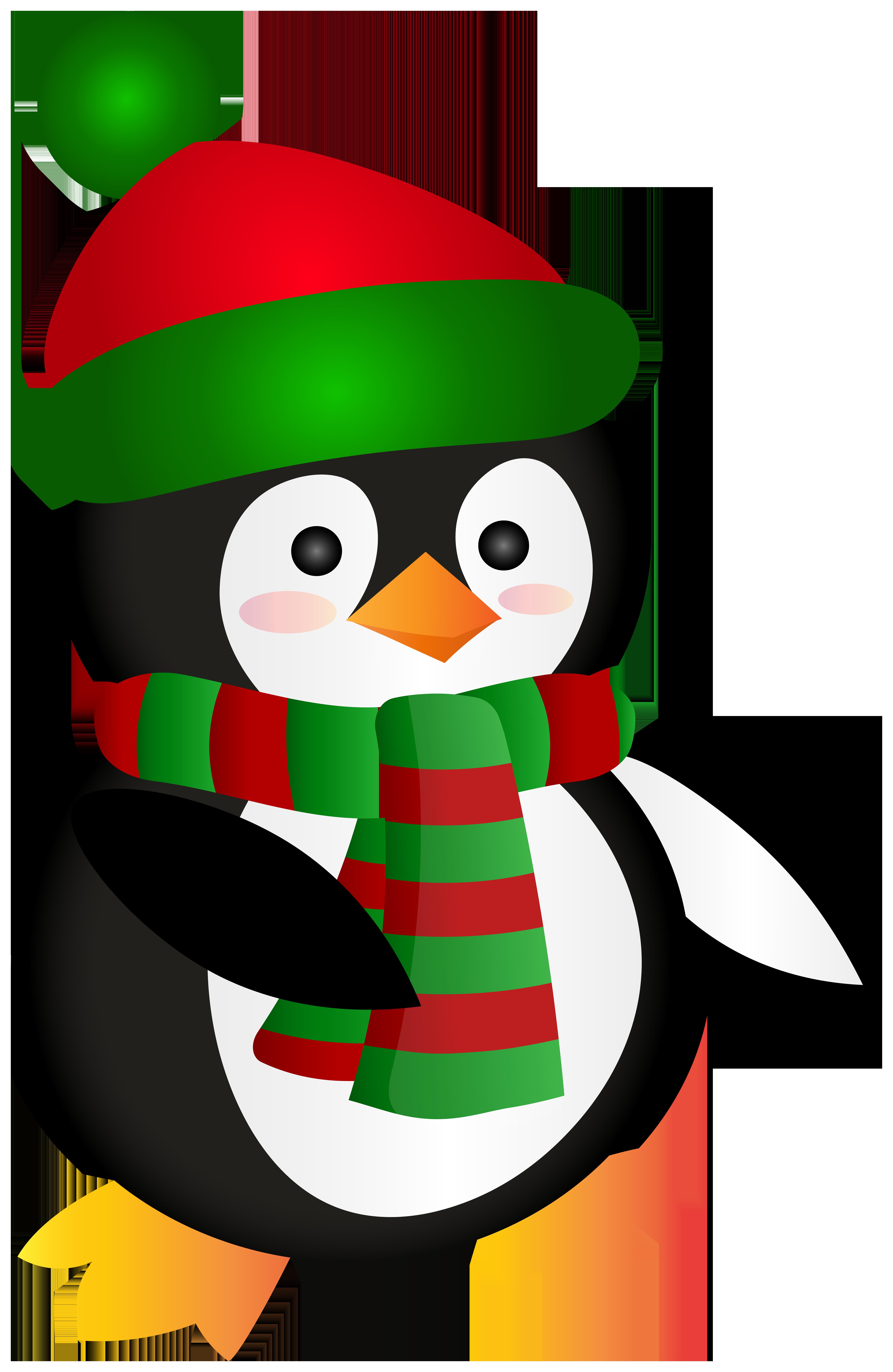 Cute Christmas Penguin Clip Art Image.