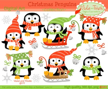 Christmas/Winter Penguins Clipart Set 2 Penguin Clip Art.