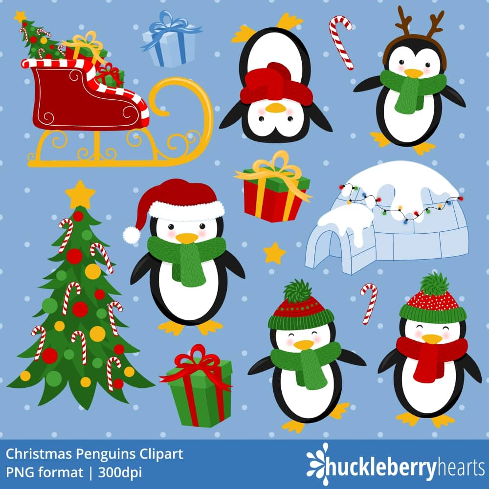Christmas Penguin Clipart.