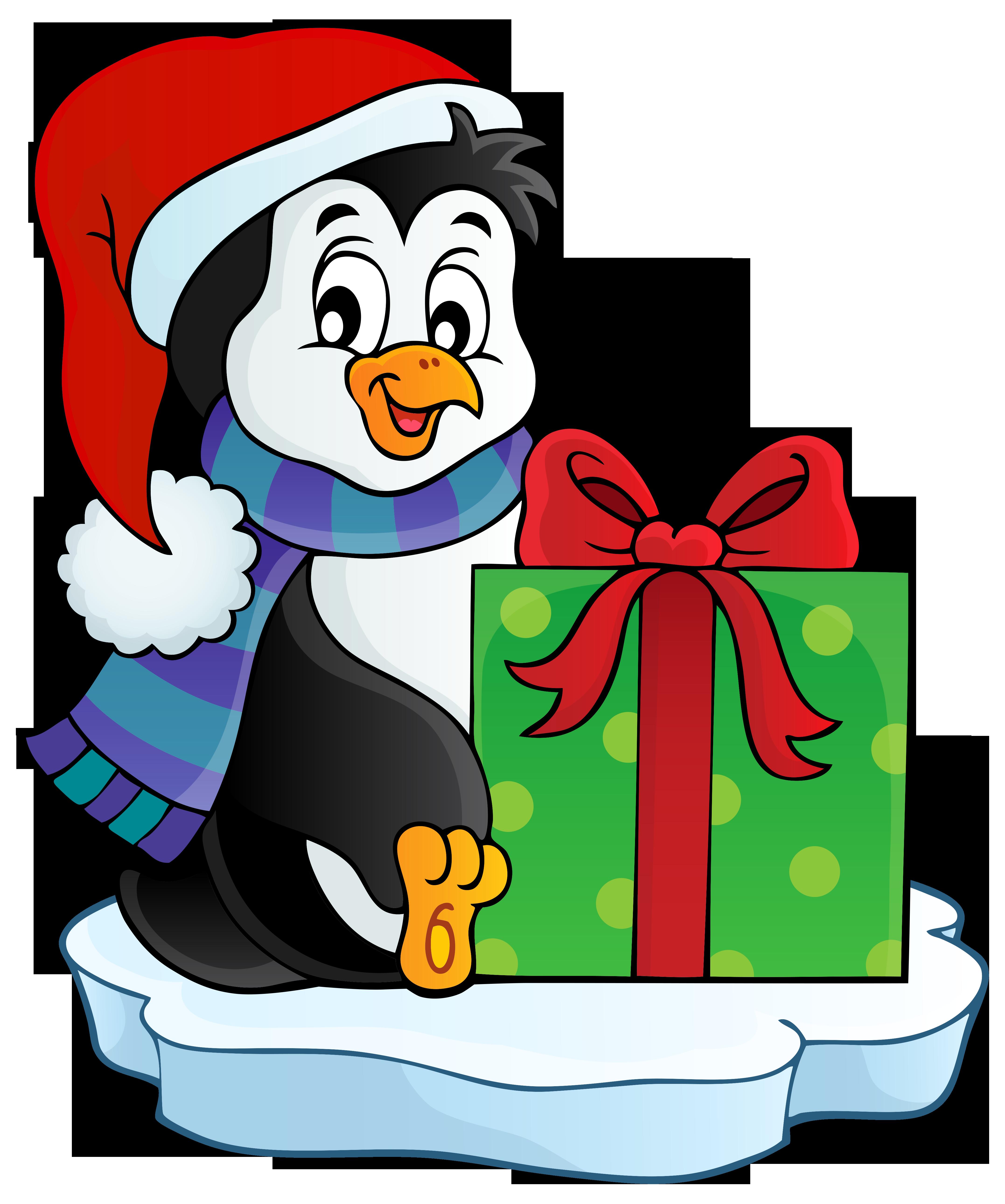 Christmas Penguin Transparent PNG Clip Art Image.