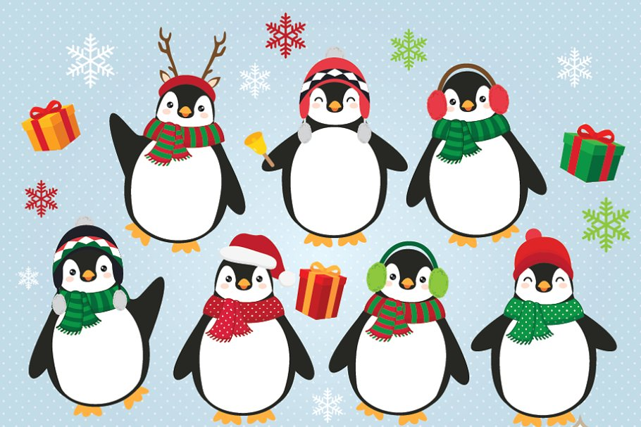Christmas Penguins Clipart.
