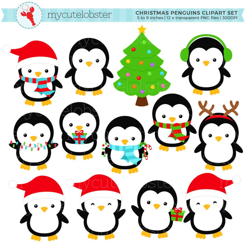 Christmas Penguins Clipart Set.