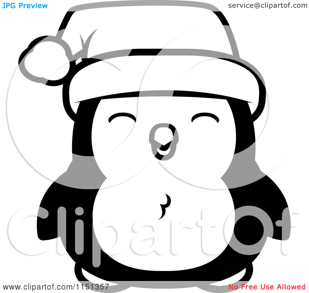 Christmas Penguin Clipart Black And White.