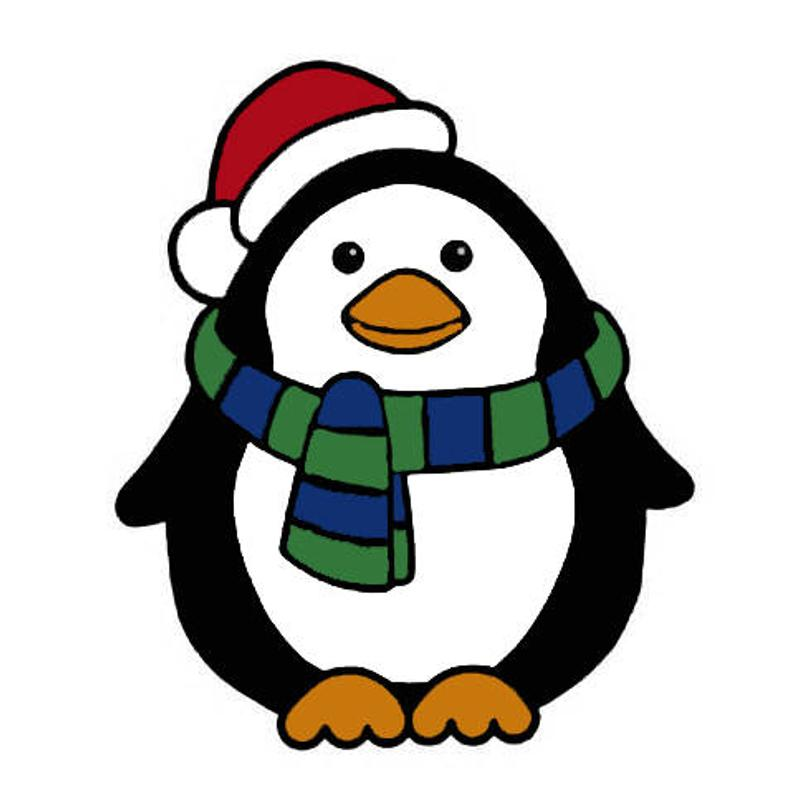 Christmas Chilly the penguin png, jpg and svg cutting file.