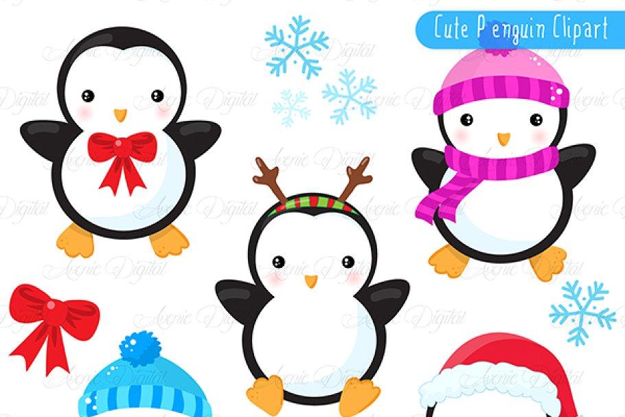 Christmas Penguins Clipart + Vectors.