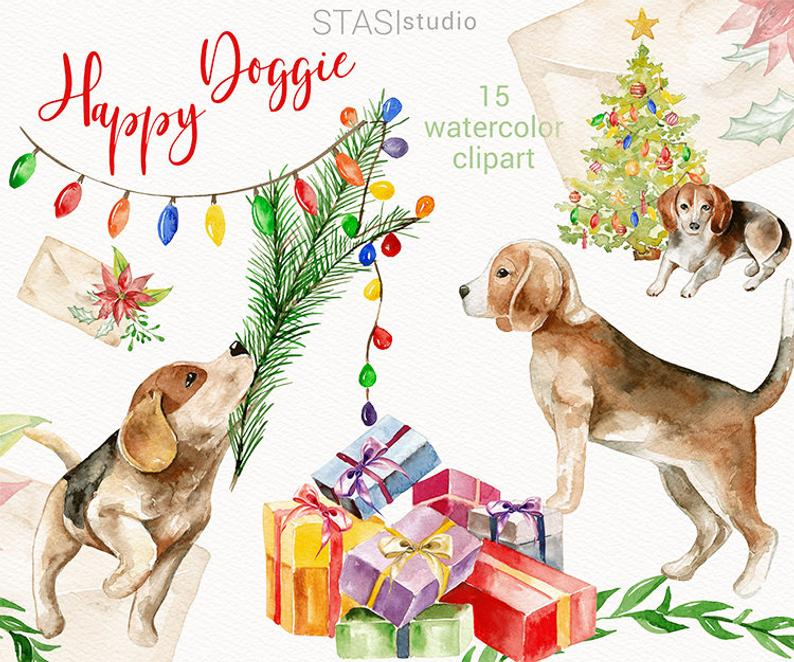 Christmas Watercolor Clipart Happy Doggie Holiday Dog Presents Cute Floral  Christmas Pets, Xmas Greetings, Red Green Clipart.