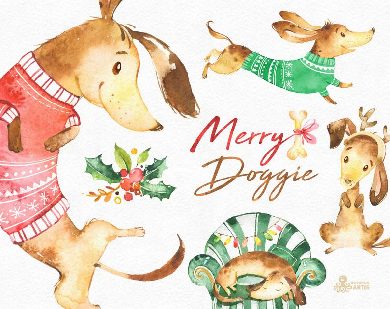 Merry Doggie. Christmas watercolor clipart , dachshund, dog, fun, cute  animal, pet, floral, xmas, holly, greetings, diy, red, green, holiday.