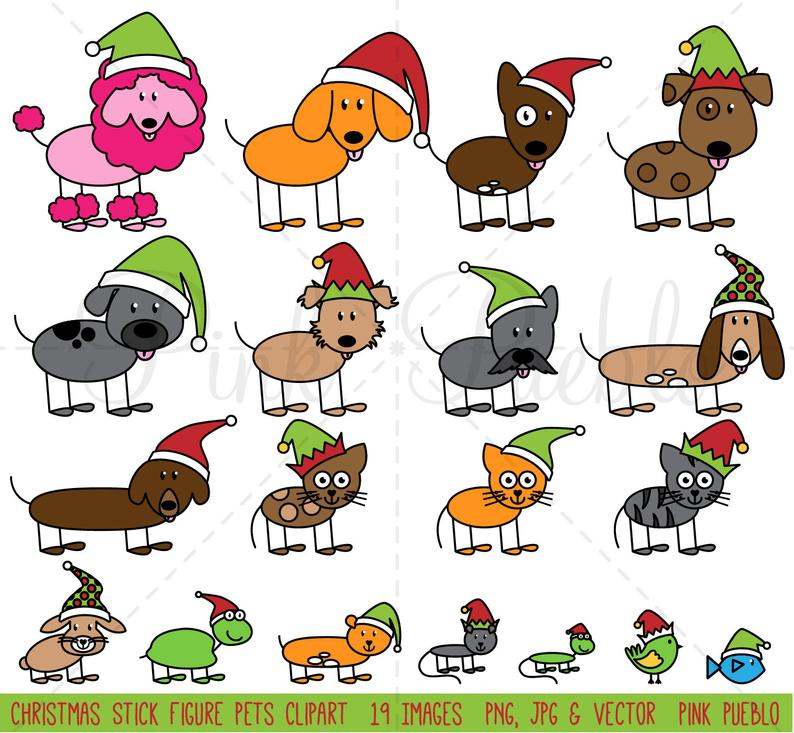 Christmas Stick Figure Pets Clipart Clip Art Vectors, Christmas Stick  Family Clip Art Clipart Vectors.