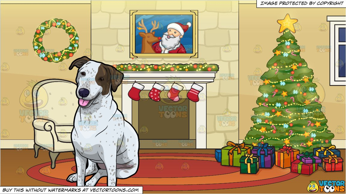 A Calm Dog Taking A Break and A Fireplace Beside A Christmas Tree Background.