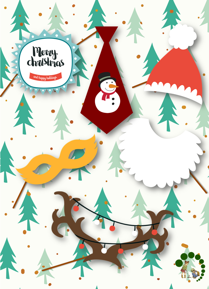 Christmas Printable Cards and Photo Booth Props.