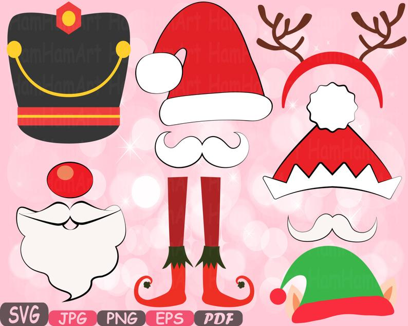 Christmas Props Party Photo Booth Silhouette Costume Cutting Files SVG  horns Clipart Bunting Digital Santa Claus props reindeer Vinyl.