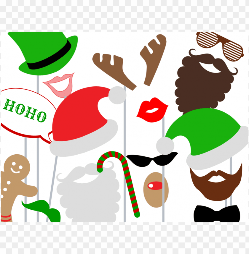 christmas photo booth props PNG image with transparent background.
