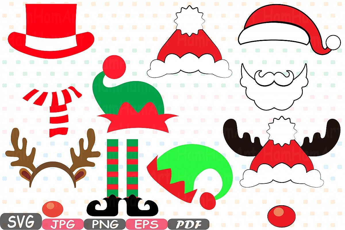 Christmas Props Party Photo Booth bundle svg 5p.