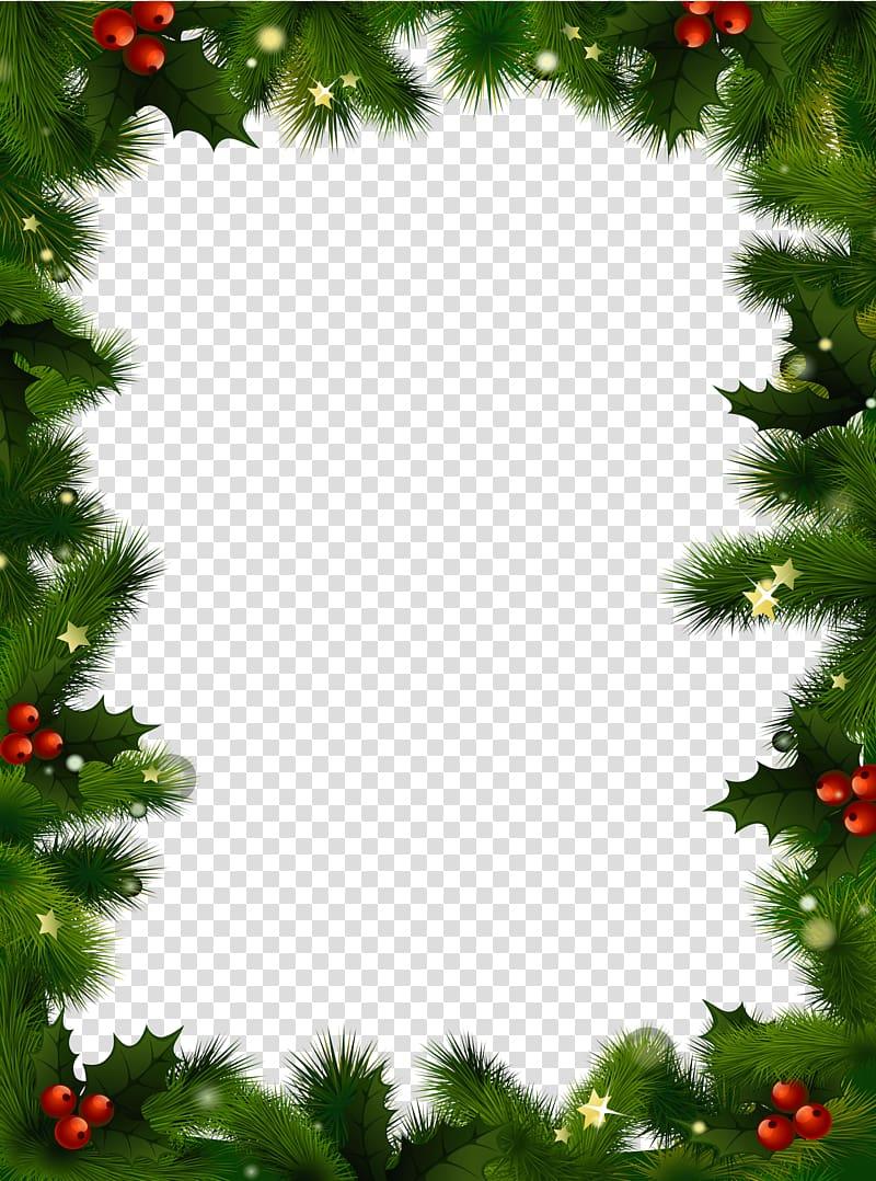 Green christmas themed frame, Christmas Frame Mistletoe transparent.