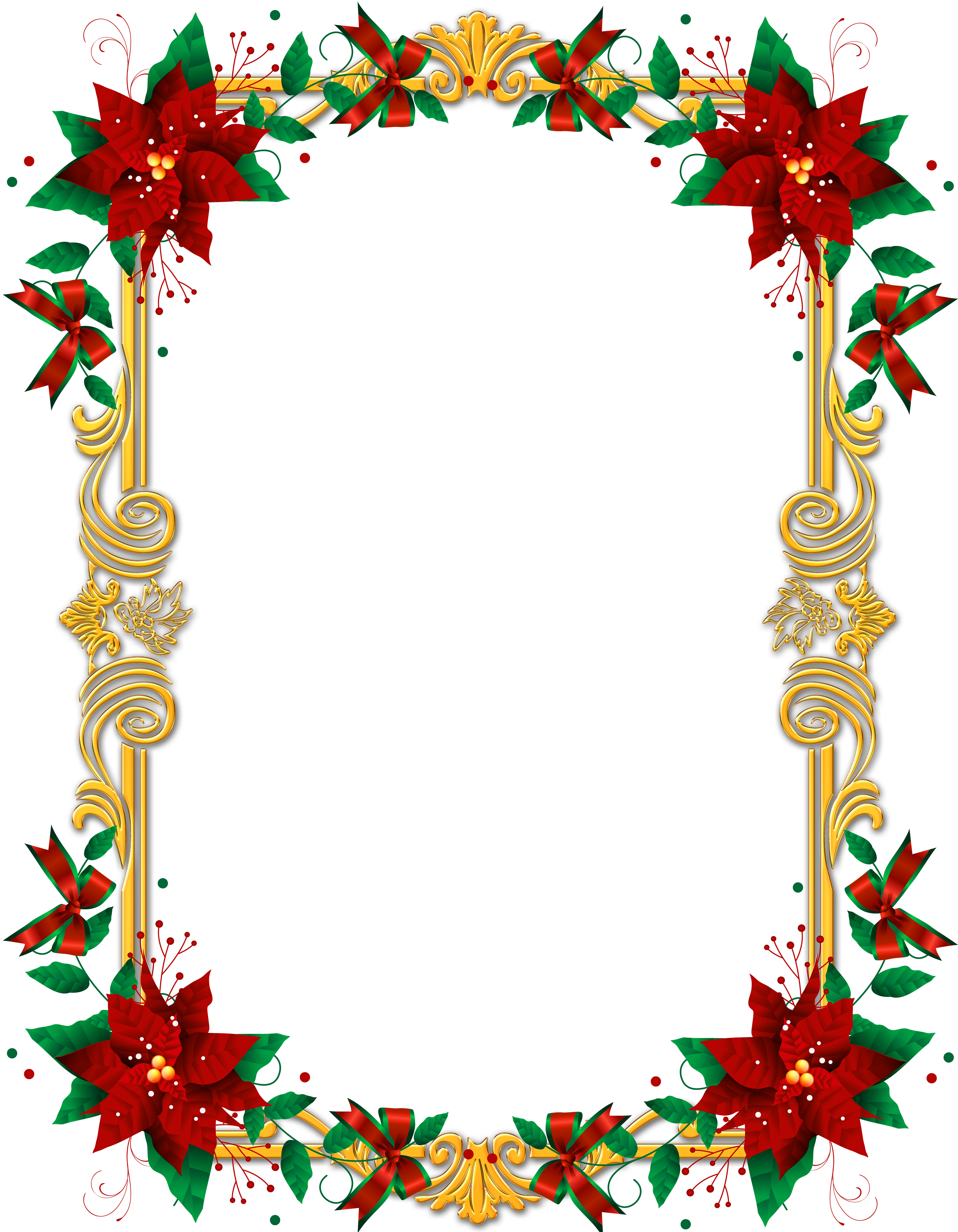 Transparent PNG Christmas Frame with Poinsettia.