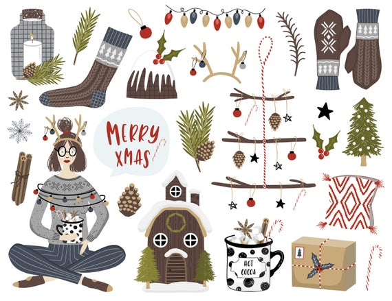 Christmas clipart / Christmas clip art / Christmas quotes / hand drawn /  PNG / vectors / card / printable / digital / girl / cocoa / tree.