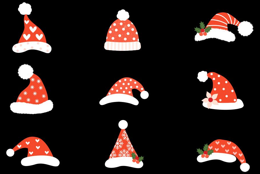 Hipster Santa hats clipart, Cute Christmas clip art.