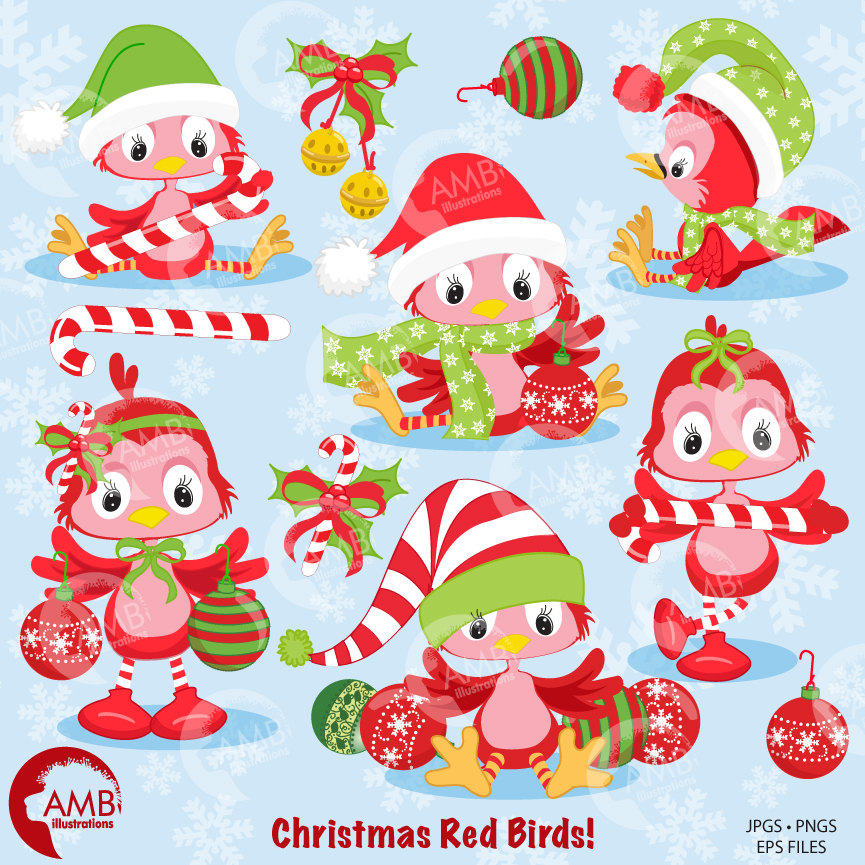 Christmas Clipart, Christmas Birds Clipart, Christmas Animal Clipart,  AMB.