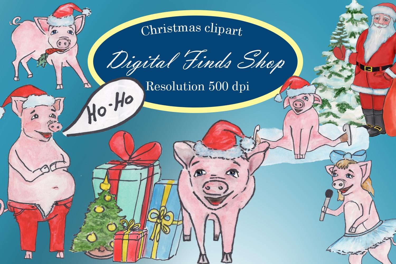 Christmas pig PNG clipart, symbol 2019 pig clipart.