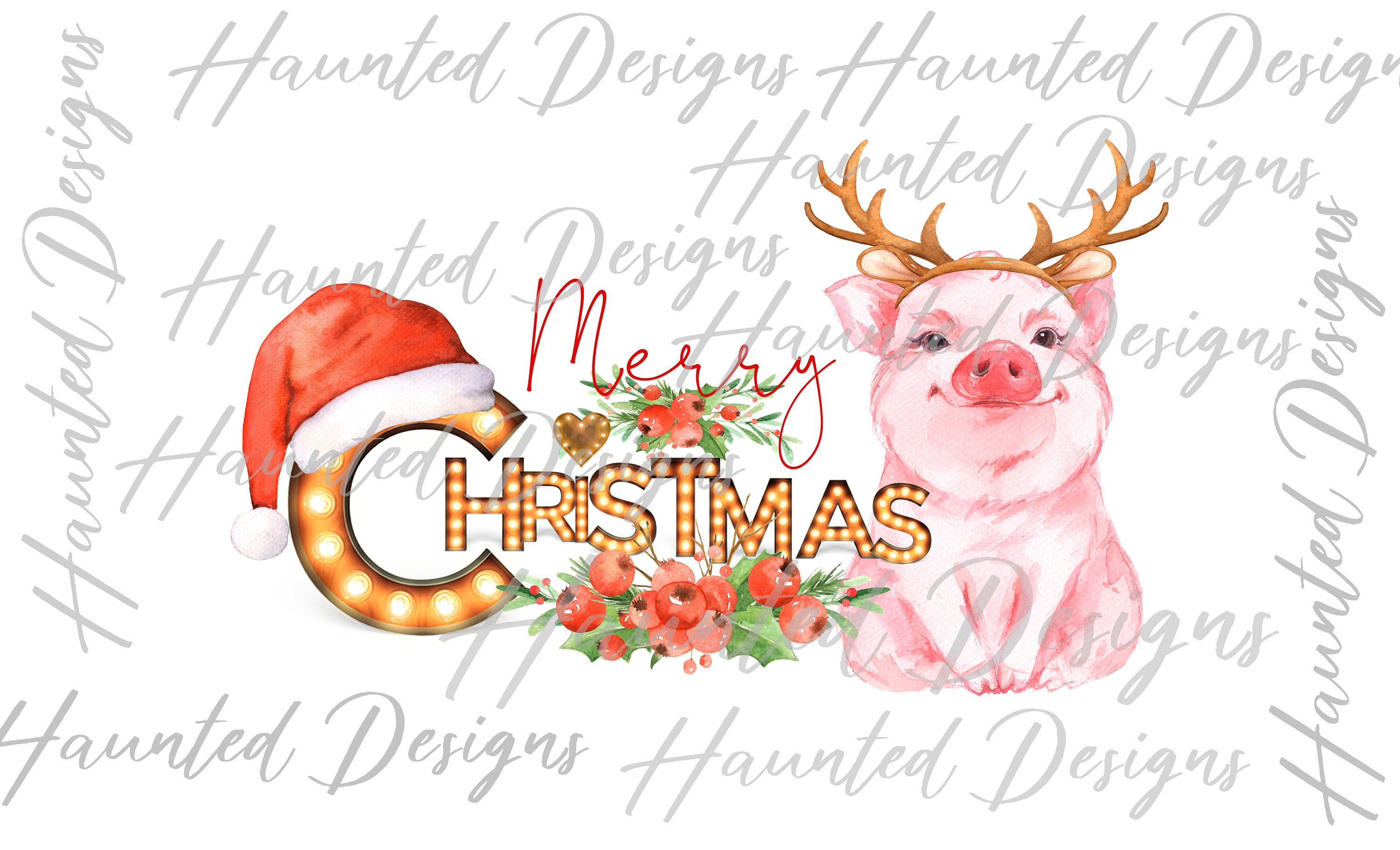Christmas Pig Marquee Farm Sublimation Design PNG Clipart Graphic, Digital  Download.