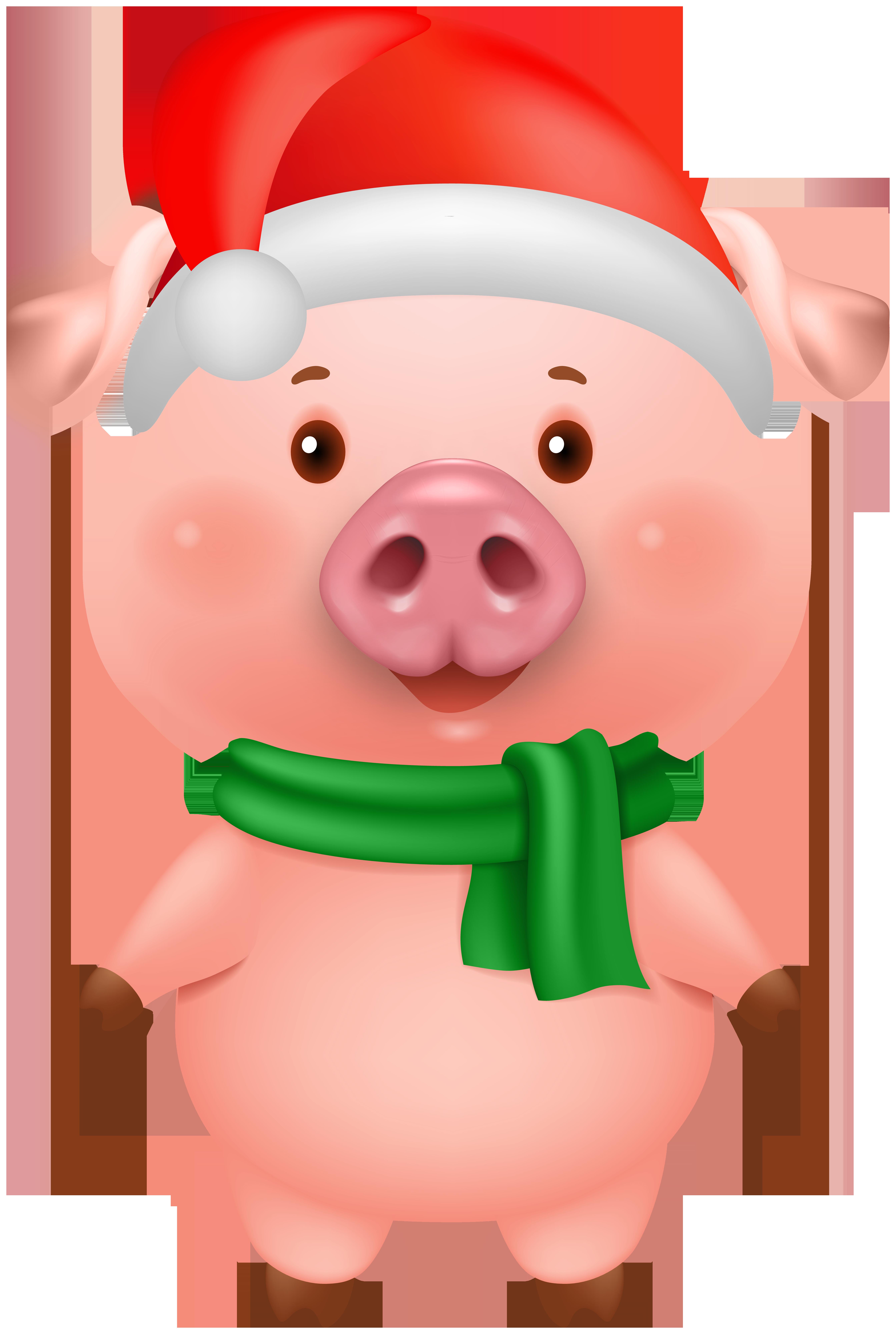 Christmas Pig Clip Art Image.
