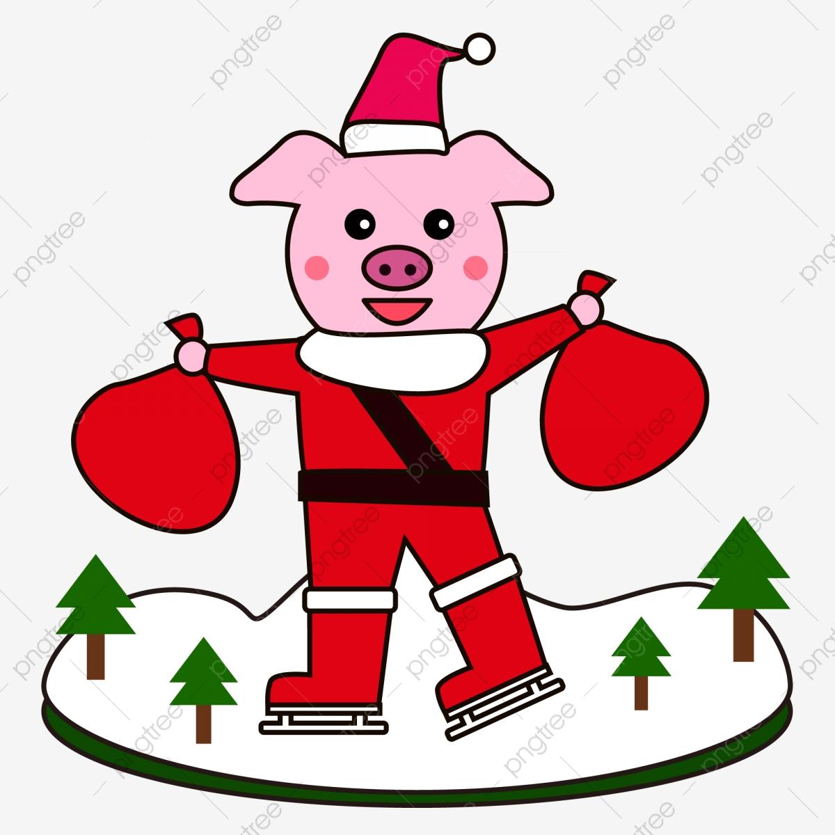 Christmas Pig Material Free To Pull, Pig Clipart, Christmas, Piggy.