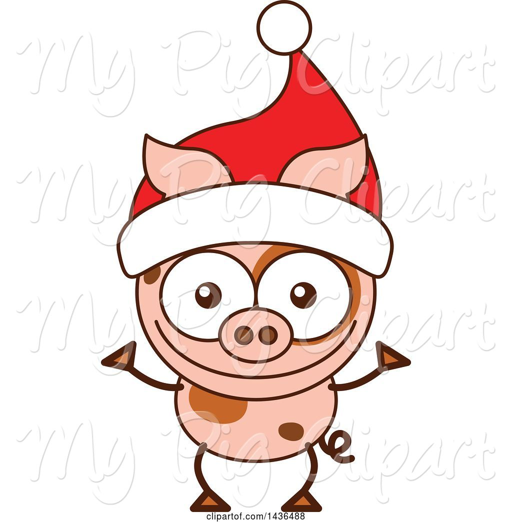 Swine Clipart of Cartoon Christmas Pig Wearing a Santa Hat by Zooco.