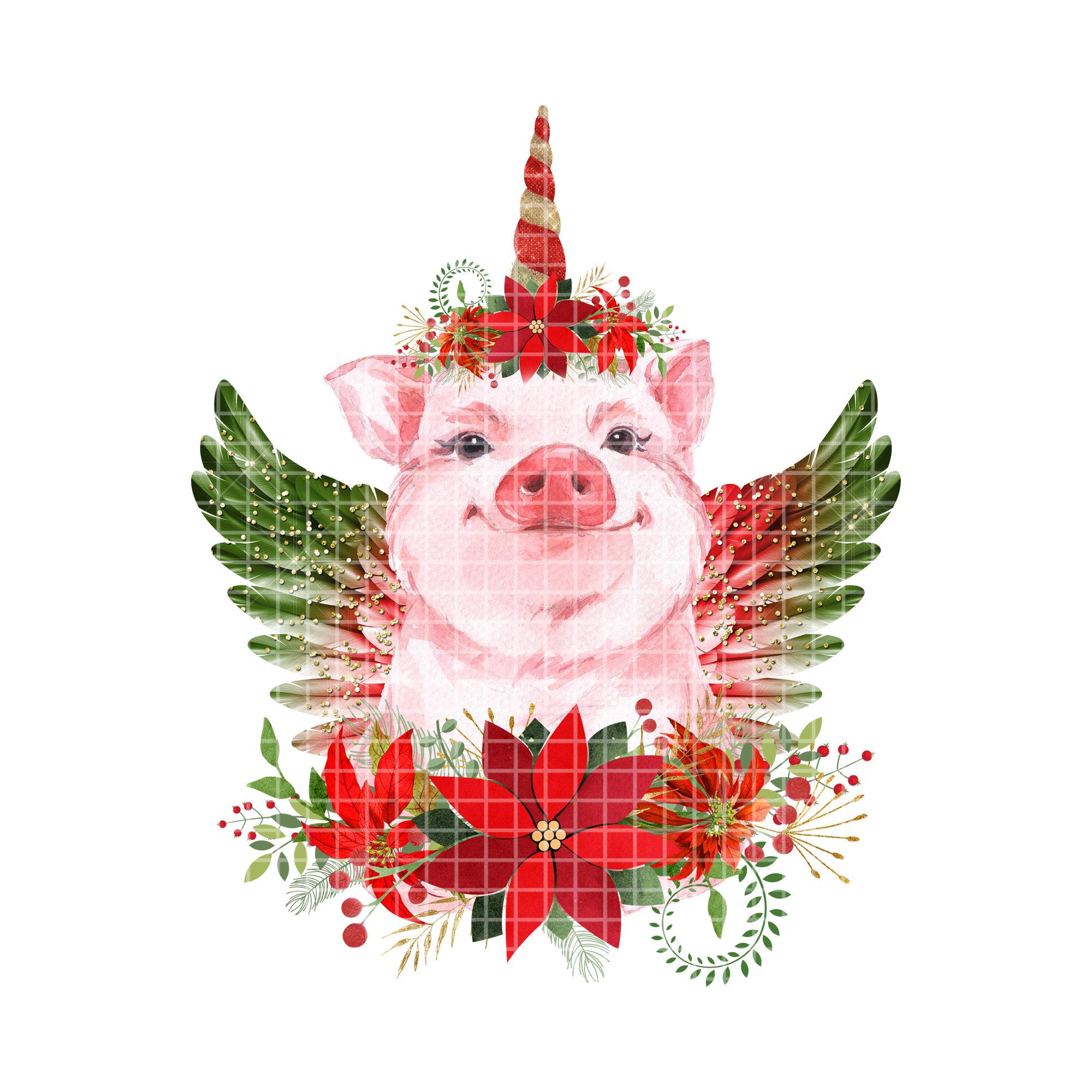 Christmas Pig Sublimation PNG, Patriotic Pig, Sublimation Designs.