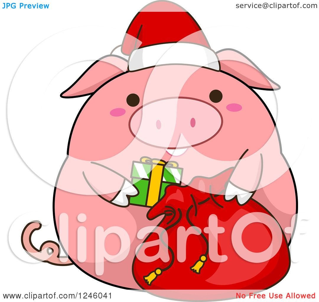 Clipart of a Pink Christmas Pig Stuffing a Santa Sack.