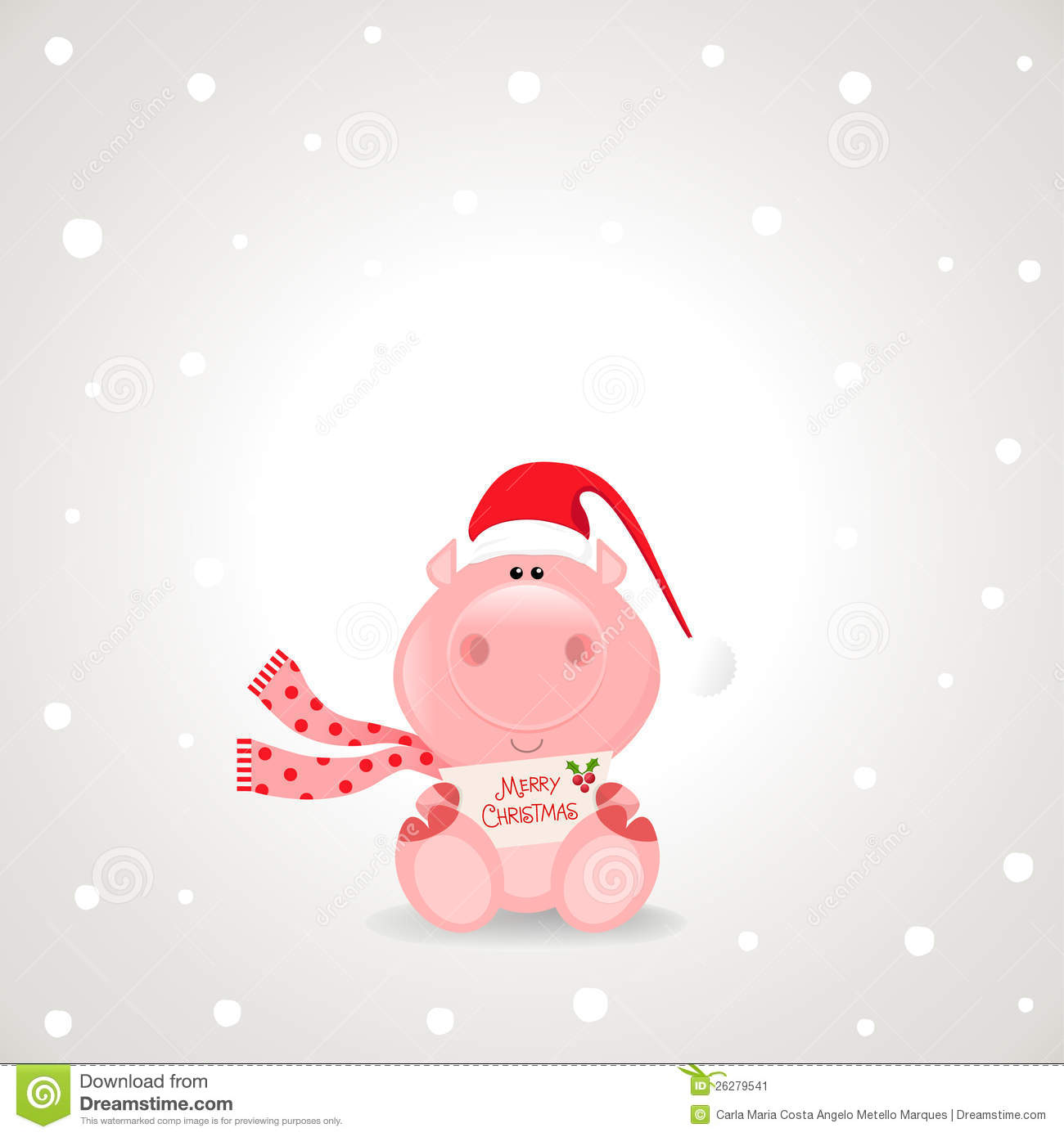 Christmas Pig Stock Illustrations.