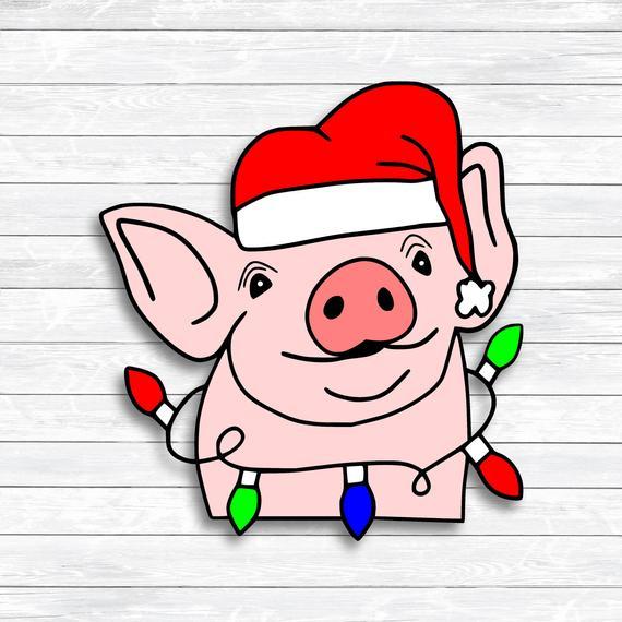 Pig Svg, Christmas Svg, Christmas Pig, Santa Pig, Christmas Clipart, SVG,  DXF, PNG, files for, Silhouette, Cricut, Iron on Transfer, Shirt.