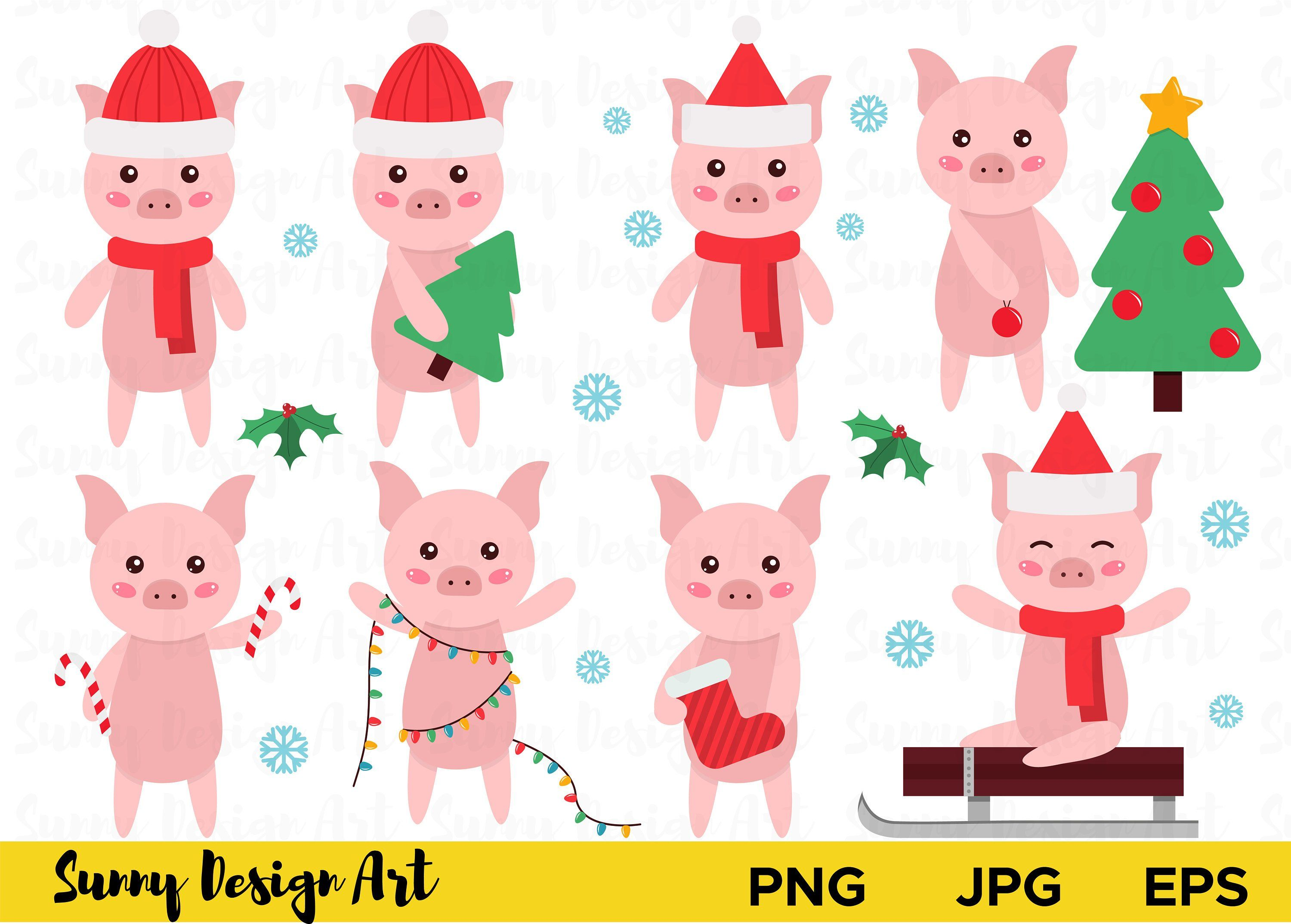 Cute pigs clipart New Year 2019 symbol pig Christmas.