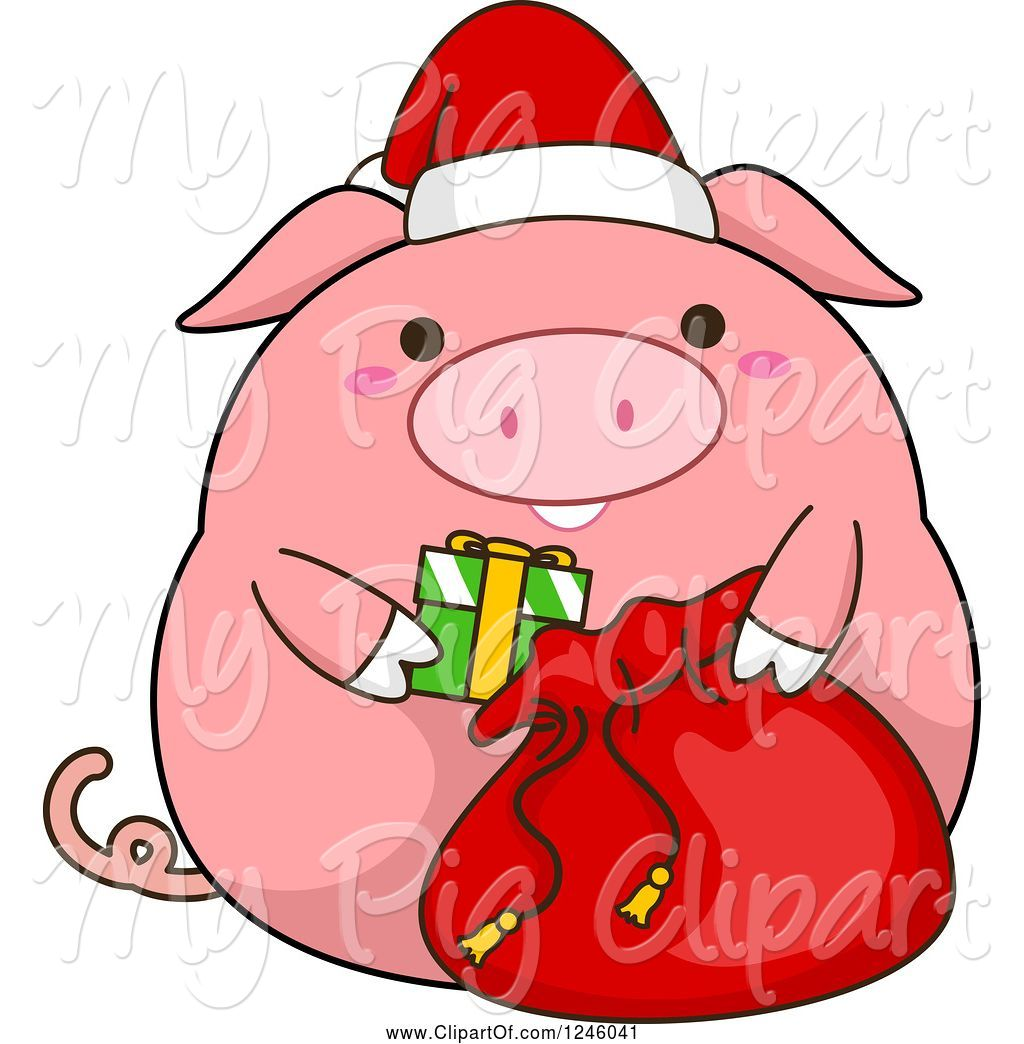 Swine Clipart of Cartoon Pink Christmas Pig Stuffing a Santa Sack by.